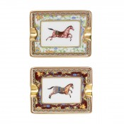 Set/2 Mini Ashtrays, 7.5x6cm