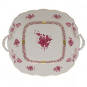 Square Cake Plate with Loop Handles