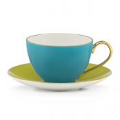Cup & Saucer, 235ml - Turquoise & Yellow