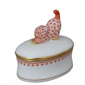 Vieux Herend - Oval Fancy/Bon Bon Box with Stretching Cat Knob, 7x5cm - Rust