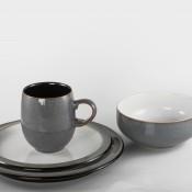 Grey - 4 Piece Place Setting - Large Curve Mug