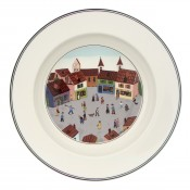 Rim Soup Bowl #4 - Old Village Square, 23cm