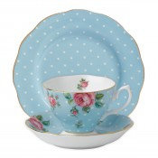 3 Piece Place Setting, Polka Blue