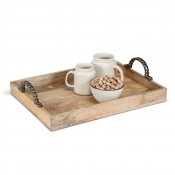 Rectangular Wooden Box Tray with Iron Chain Handles, 48x35.5cm