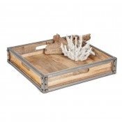 Square Wooden Box Tray with Iron Trim & Hand Holes, 40.5cm