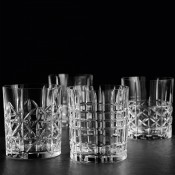 Set/4 Assorted Tumblers/Double Old Fashioned Glasses, 10cm, 345ml - Different Cuts