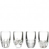 Set/4 Assorted Designs Shot Glasses, 8cm, 80ml - Clear