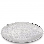 Round Tray with Relief Decoration, 26cm - Stainless Steel