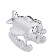 Silver Plate Zoom Zoom Airplane Coin Bank, 14cm