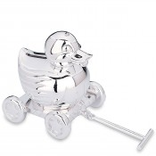 Something Duckie - Silver Plate Coin Bank, 11.5cm