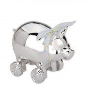 Silver Plate Piggy with Wheels Bank, 13cm
