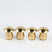 Set/4 Mushroom Gold Plate Salt & Pepper Shakers