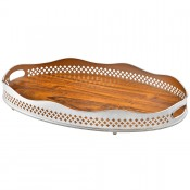 Cross - Oval Gallery Tray with Wooden Base, 70x46cm