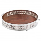 Cross - Round Gallery Tray with Wooden Base, 38cm