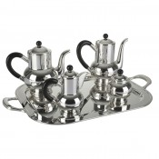 4-Piece Tea and Coffee Set with Wooden Handles