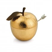 Apple Honey Pot with Spoon, 10cm - Goldtone
