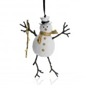 Snowman Ornament, 14cm - Goldtone