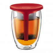 Tea for One - Double Wall Glass with Tea Strainer, 12.5cm, 350ml - Red