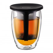 Tea for One - Double Wall Glass with Tea Strainer, 12.5cm, 350ml - Black