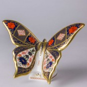 Old Imari Solid Gold Band Butterfly Paperweight, 10cm