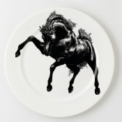 Horse Service Plate, 30cm - White - Full Image