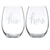 His and Hers Stemless Wine Glasses, 475ml