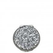 Glitter Compact, 7cm - Silver