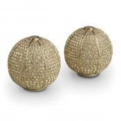 Gold Plate Band Sphere Spice/Salt & Pepper Shakers