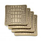 Set/4 Gold Plate Coasters, 10cm