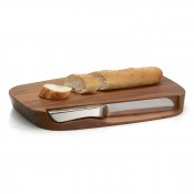 Wooden Bread Board with Knife, 44.5cm