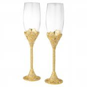 Set/2 Gold Champagne Flutes, 26.5cm, 210ml