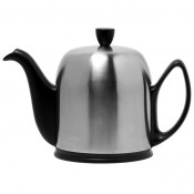 Teapot, 1L, 6 Cups - Black Base, Matte Stainless Steel Cover/Cloche