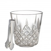 Crystal Ice Bucket with Stainless Steel Tongs, 19cm