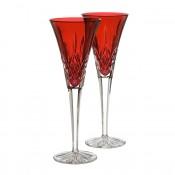 Set/2 Crimson Champagne Flutes, 25cm