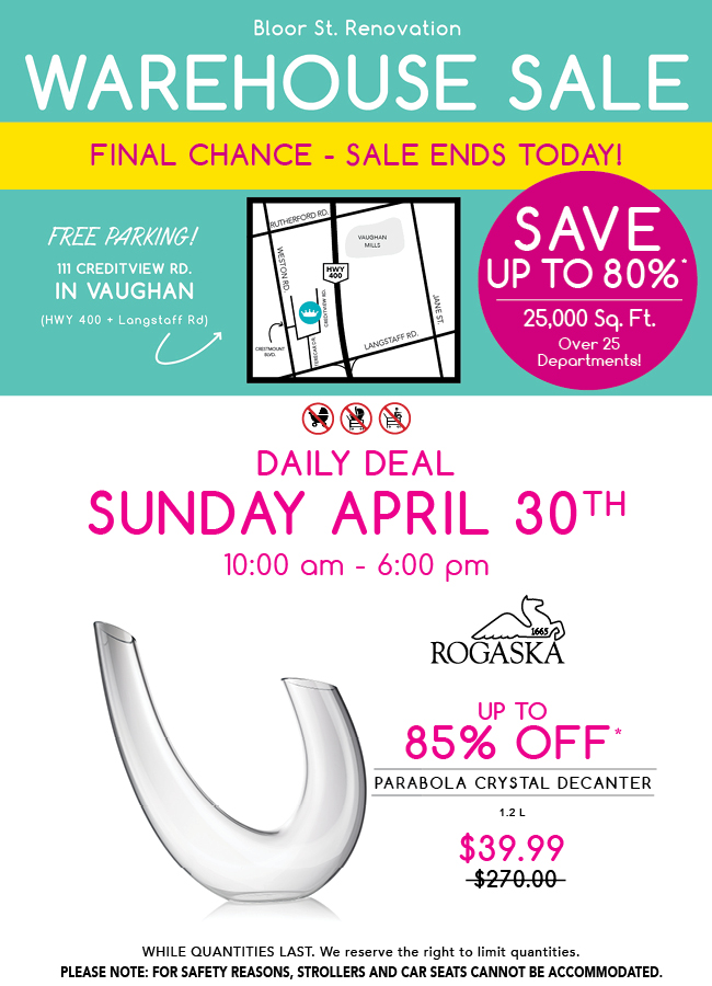 Spring William Ashley Warehouse Sale - April 21-30
