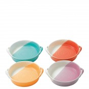 Set/4 Assorted Colours Mini Round Serving Dishes/Bowls with Handles, 16cm - Brights