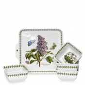 5 Piece Square Handled Plate & Accent/Dip Bowl Set