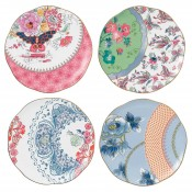 Set/4 Assorted Designs Plates, 21.5cm