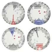 Set/4 Assorted Motifs Dessert Plates, 22cm