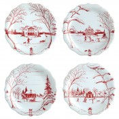 Winter Frolic - Set/4 Tidbit/Party Plates, 21.5cm - Assorted Motifs