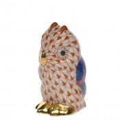 Vieux Herend - Miniature Owl Figurine, 4.5cm - Rust