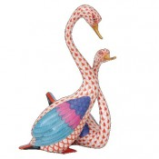 Vieux Herend - Pair of Swans Figurine, 19cm - Rust