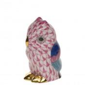 Vieux Herend - Miniature Owl Figurine, 4.5cm - Pink