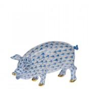 Vieux Herend - Pig Figurine, 4.5cm - Blue
