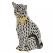 Vieux Herend - Cat with Bow Figurine, 12cm - Black