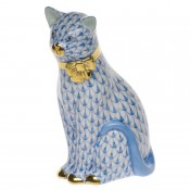 Vieux Herend - Cat with Bow Figurine, 12cm - Blue