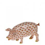 Vieux Herend - Pig Figurine, 4.5cm - Rust