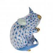 Vieux Herend - Mouse Figurine, 6cm - Blue