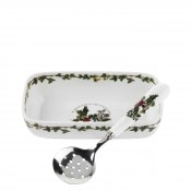 Cranberry/Oblong Serving Dish/Bowl with Slotted Serving Spoon, 20x10cm