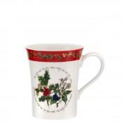 Flared Mug with Red Border, 11cm, 350ml